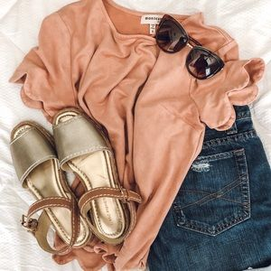 Small Blush Top With Scalloped Hem and Sleeves